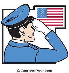 Serviceman salutiert amerikanische Flagge