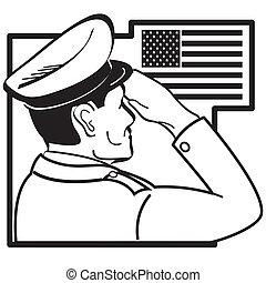 Serviceman salutiert amerikanische Flagge.