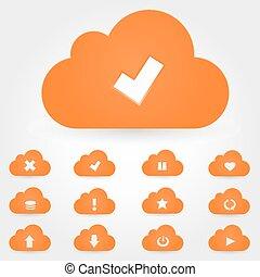 set., rechnen, wolke, ikone
