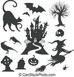 Set verschiedener Vektor-Halloween-Elemente