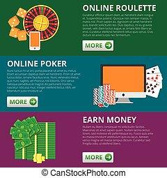 Set von 3 Internet-Glücksspiel-Flach Banner. Poker und Roulette. Online verdienen Geld Vektor-Konzept.