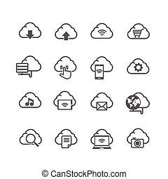 Set von Cloud Computer und soziale Netzwerk-Icon isoliert auf weißem Hintergrund.