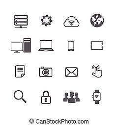 Set von Computer und soziale Netzwerk-Verbindung Icon isoliert auf weißem Hintergrund.