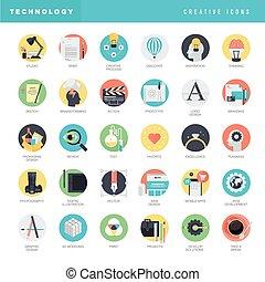 Set von flachen Design Icons.