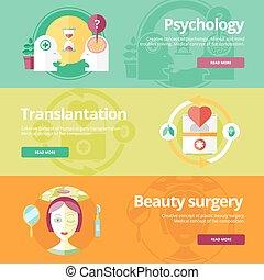 Set von flachen Designkonzepten für Psychologiest, Transplantation, Schönheitschirurgie. Medizinische Konzepte für Web-Banner und Druckmaterialien.
