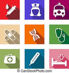 Set von flachen Gesundheits-und medizinischen Ikonen.