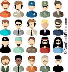 Set von flachen Ikonen mit Männern. Vector Illustration