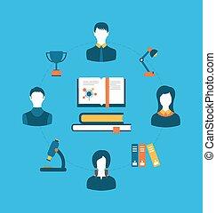 Set von flachen Konzept Icons für Bildung, Ausbildung und Tutorials.