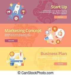 Set von flachen Konzepten für den Start, Marketing Konzept Business Plan. Konzepte für Web-Banner und Druckmaterialien