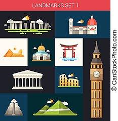 Set von flat design berühmten Welt Wahrzeichen Ikonen.