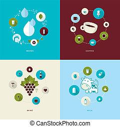 Set von flat design concept icons
