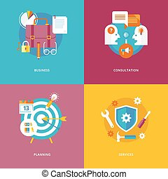 Set von flat design concept icons for business and marketing. Icons for business, consulting, planning and services.