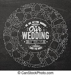 Set von Hochzeits-Cartoon-Doodle-Objekte runden Rahmen