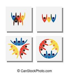 Set von lebendigen, glücklich aufgeregten Menschen Freunde Logo - Vektor Icons