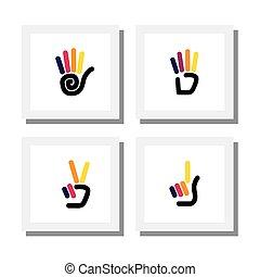 Set von Logo-Designs von bunten Hand Gesten von Zahlen - Vektor-Icons.