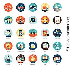 Set von modernen Flat Design Business Infographics Ikonen.