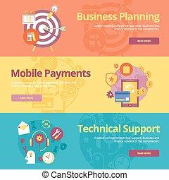 Set von Pauschalkonzepten für Businessplanung, mobile Zahlungen, technische Unterstützung. Konzepte für Web-Banner und Druckmaterialien