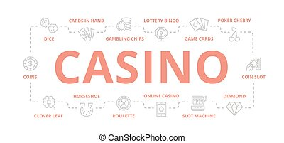 Set von Vektor Glücksspiel und Casino dünne Linie Banner für Design Konzept. Illustration für Präsentationen auf weißem Hintergrund