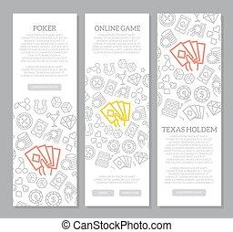 Set von Vektor-Glücksspiel und Casino vertikale Banner mit Symbolmuster. Vector Illustration