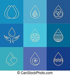 Set von Wassertropfen & Naturvektor - abstrakte Logo Vorlagen & l
