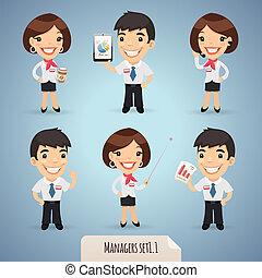 set1.1, manager, karikatur, charaktere