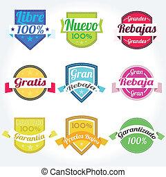 Setzen Sie die spanischen Vektorkennzeichen Retro.