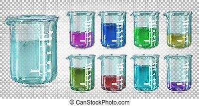 Setzen Sie Glaschemikalienaker mit farbiger Flüssigkeit. Vector Bilder isoliert auf einem transparenten Hintergrund.
