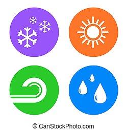 Setzen Sie Wetter-Ikonen.