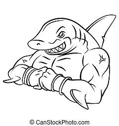 Shark starkes Maskottchen.