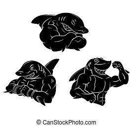 Shark starkes schwarzes Tattoo.