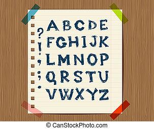 Sheet mit einer Zeichnung von Buchstabensymbolen für Ihr Design