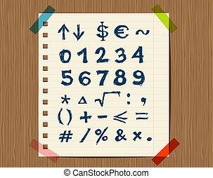 Sheet mit Skizze von mathematischen Symbolen für dein Design