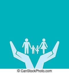 sicher, familie, hand, unter, retten, oder