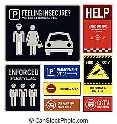 Sicherheit und Sicherheit im Parkplatz
