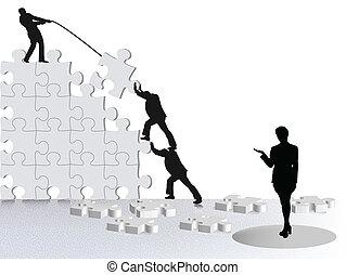 Sie zeigen Erfolg des Geschäfts über Teams, die auf Puzzle bauen