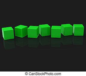 Sieben leere Blocks zeigen Kopien für sieben Buchstaben