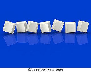 Sieben leere Fliesen zeigen Hintergrund für sieben Buchstaben