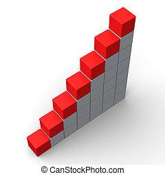 Sieben leere Schritte zeigen Kopienraum für sieben Buchstaben