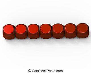 Sieben leere Würfel zeigen Hintergrund für sieben Buchstaben
