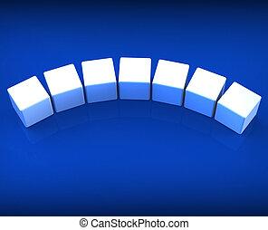 Sieben leere Würfel zeigen Kopien für sieben Buchstaben