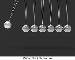 Sieben silberne Newtons Wiege zeigen leere Sphären für sieben Buchstaben