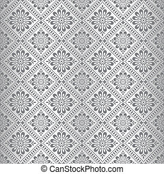 Silberne florale Tapete