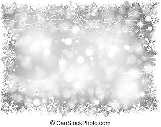 Silberne Weihnachtsbeleuchtung im Hintergrund