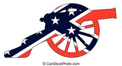 silhouette, bürgerkrieg, auflehnen, kanone, fahne