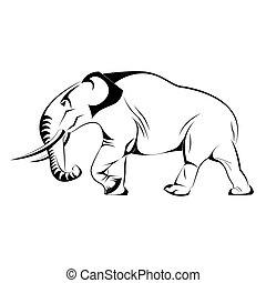 Silhouette des Elefanten im Vektor