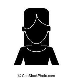 Silhouette-Frau zwanglose Kleidung.