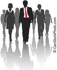 silhouette, geschäftsmenschen, spaziergang, human resources