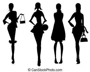 silhouette, geschaeftswelt, weibliche