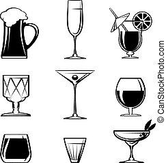 Silhouette Getränkeglas Icons auf weiß.