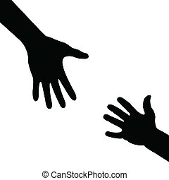 Silhouette Hand, hilf der Hand